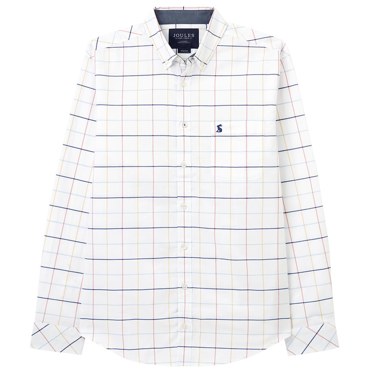 joules mens welford long sleeve classic fit check shirt multi blue check large