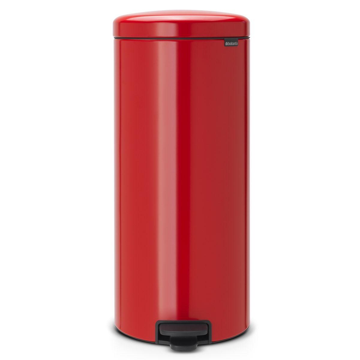 Brabantia newIcon Pedal Bin 30 Litre Plastic Bucket Passion Red
