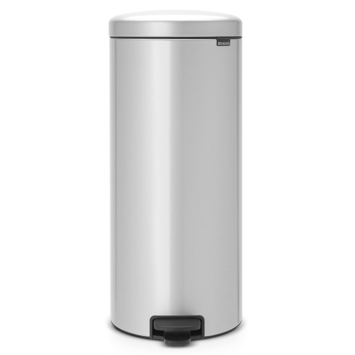 Brabantia newIcon Pedal Bin 30 Litre Plastic Bucket Metallic Grey
