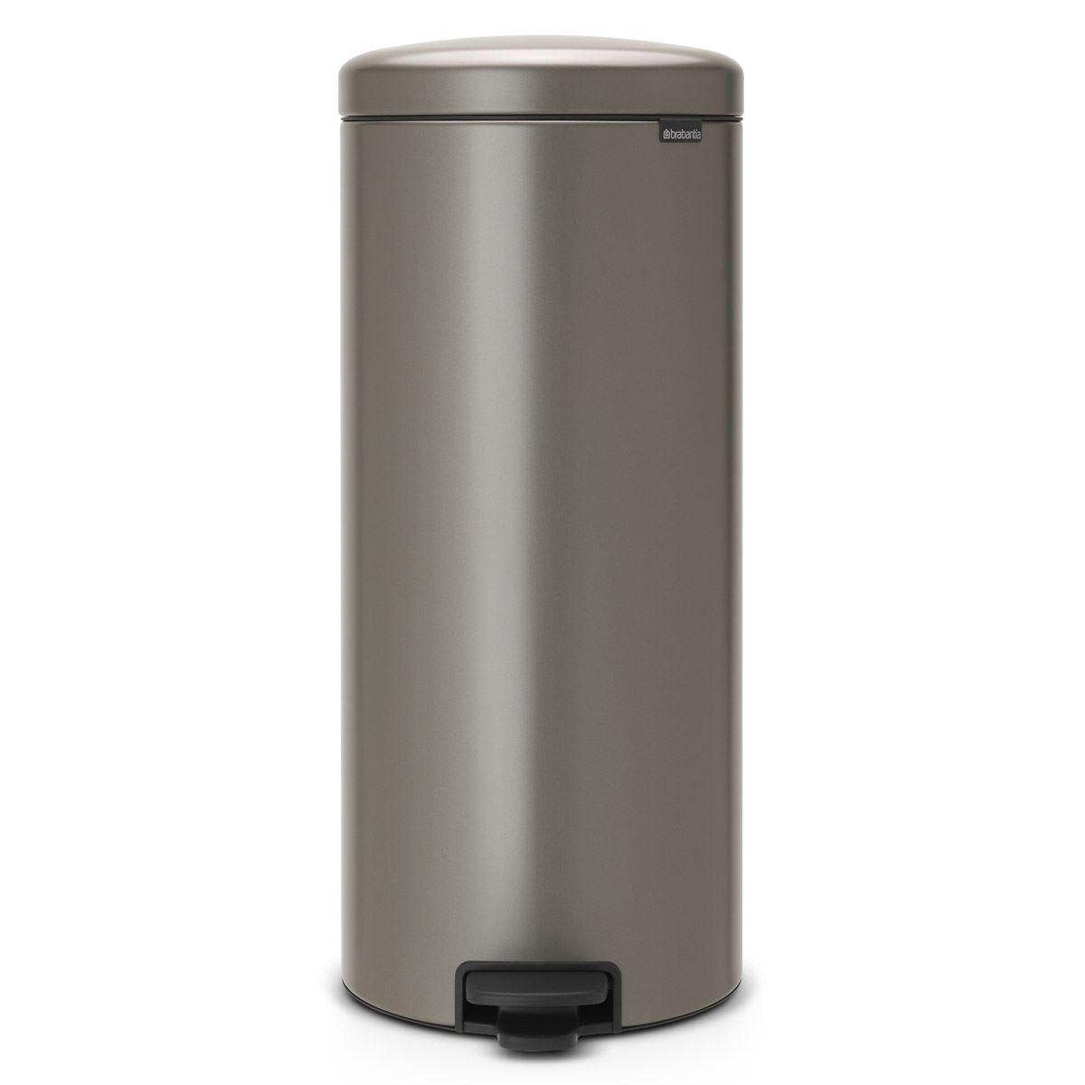 Brabantia newIcon Pedal Bin 30 Litre Plastic Bucket Platinum