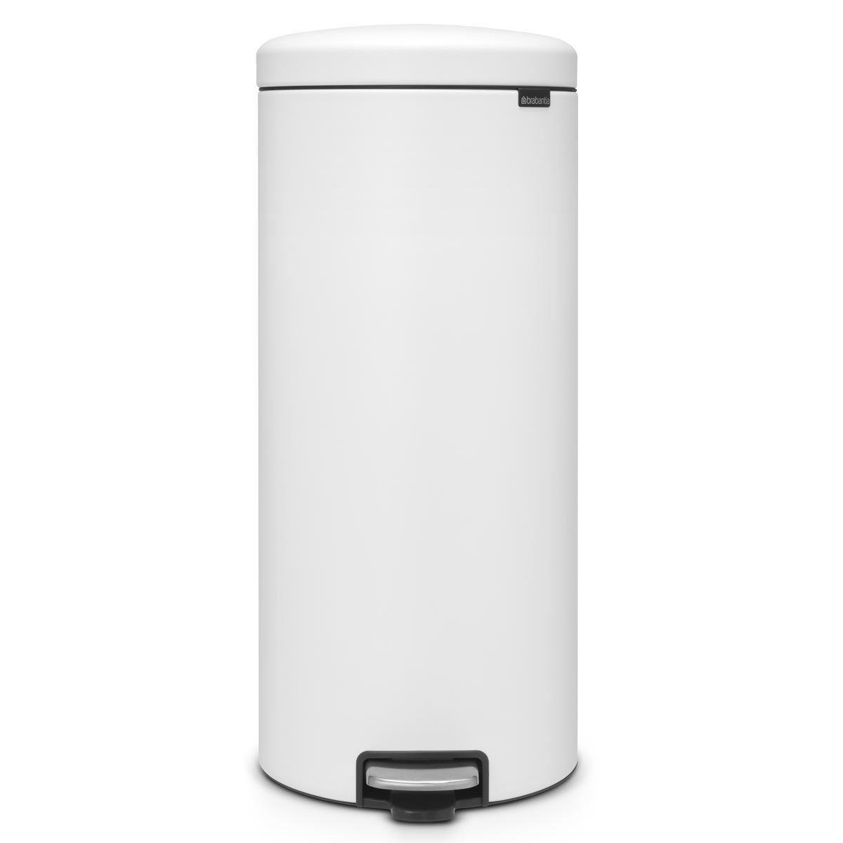 Brabantia newIcon Pedal Bin 30 Litre Plastic Bucket Mineral Eternal White