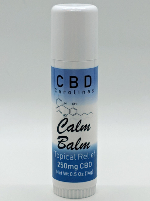 Calm Balm. Topical rub on stick infused with eucalyptus and beeswax to provide relief from aches and pains.