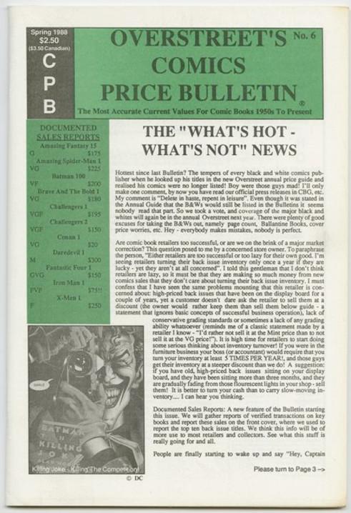 Overstreet's Comics Price Bulletin #6