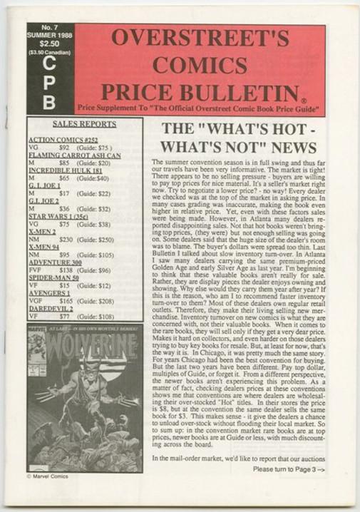 Overstreet's Comics Price Bulletin #7