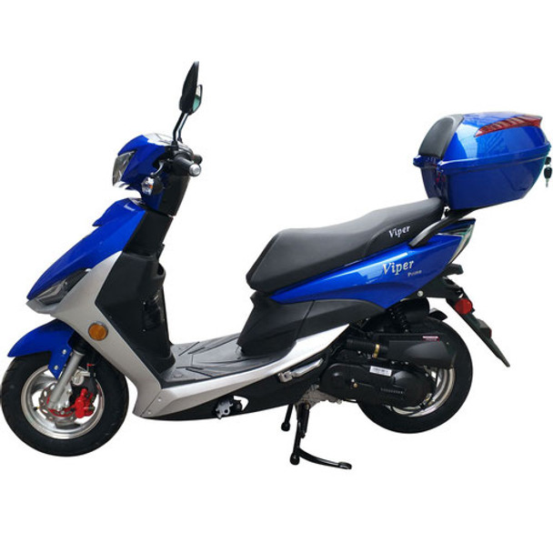 """Viper 49cc Moped Scooter with 10"""" Wheels-Electric-Kick Start-Rear Trunk"""
