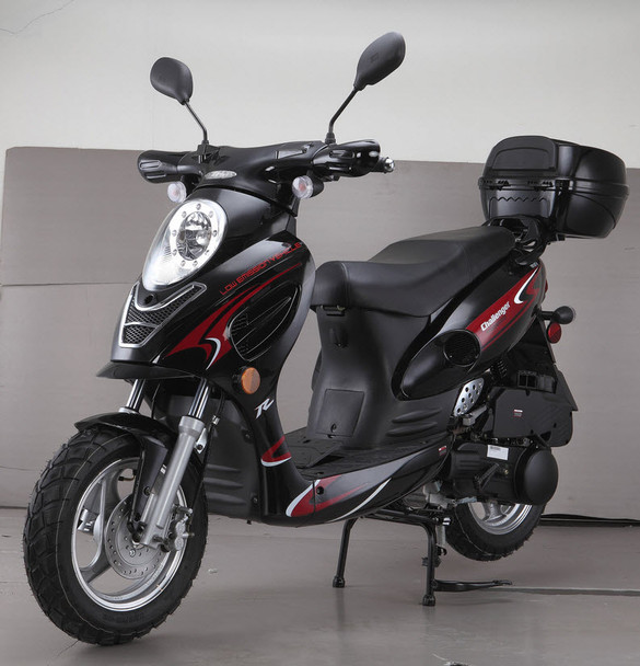"Challenger 49cc Moped Scooter with LED Light 12"" Wheels-Electric-Kick Start-Rear Trunk"