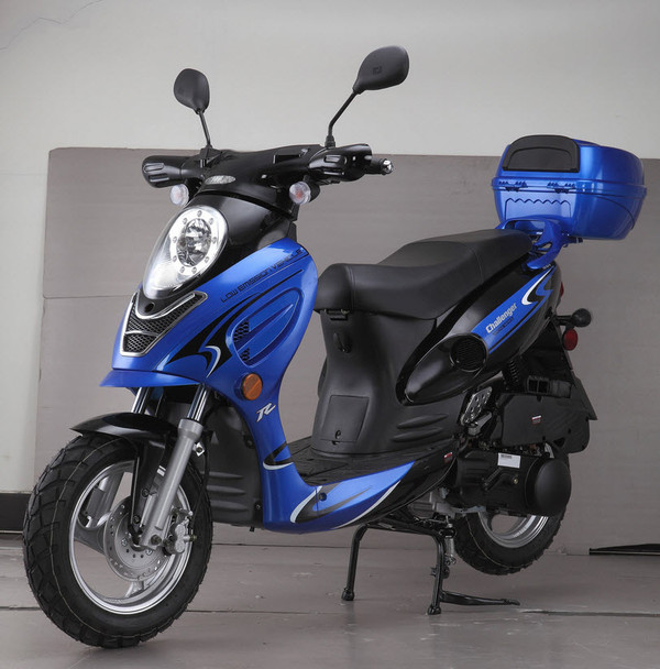 """Challenger 49cc Moped Scooter with LED Light 12"""" Wheels-Electric-Kick Start-Rear Trunk"""