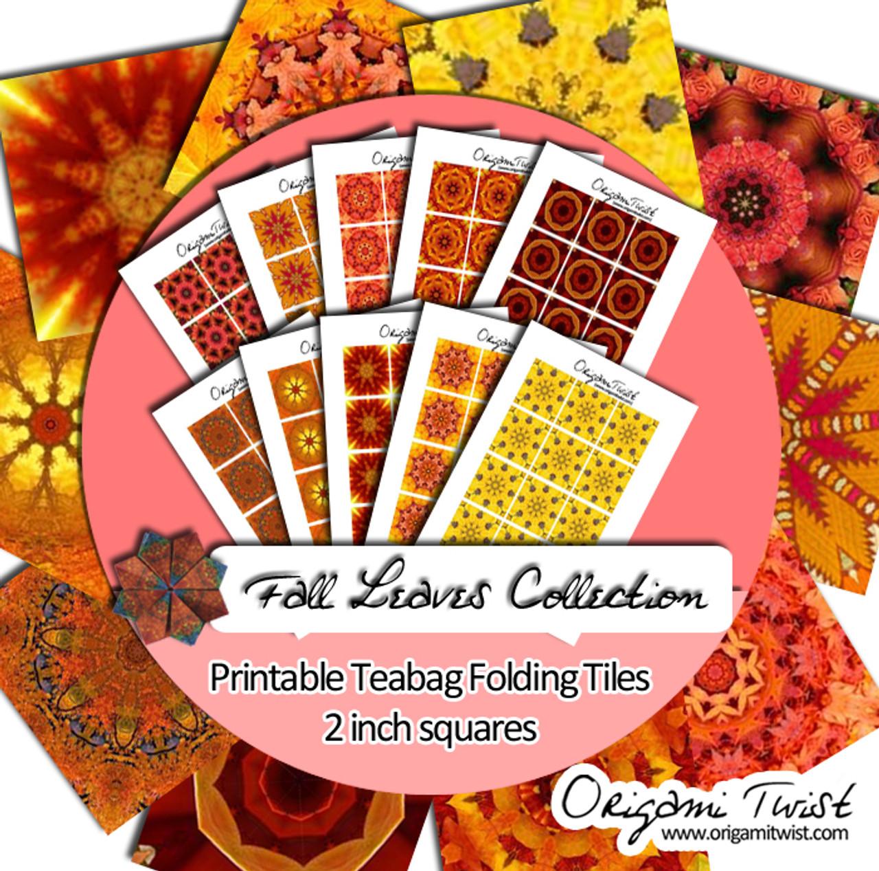 Fall Leaves Printable Teabag Folding Tiles 10 Page Collection