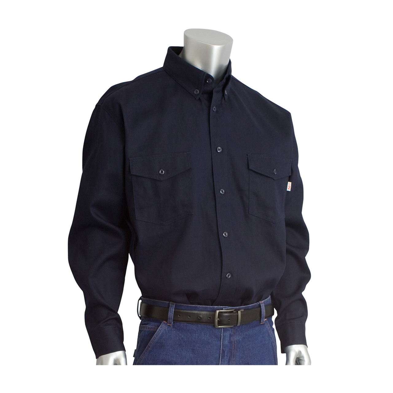 223f6567 PIP Flame Resistant HRC 2 Button Dress Work Shirt - Navy blue long sleeve  collared button
