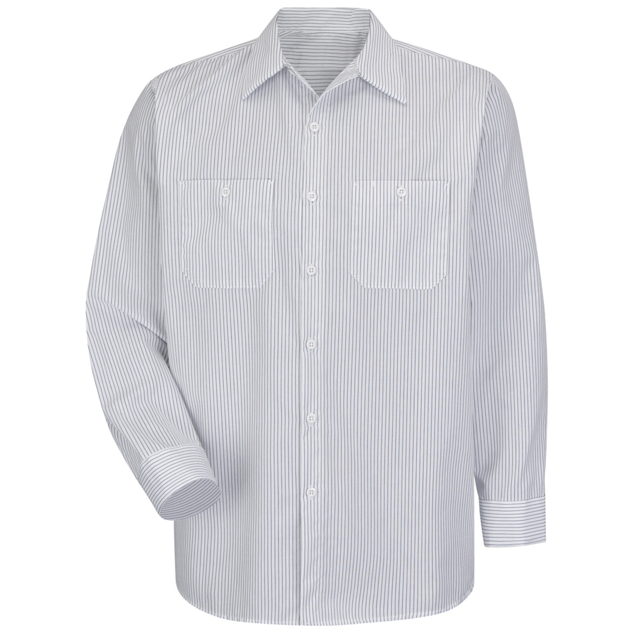 f8fba4826 Red Kap Men's Long Sleeve Striped Industrial Work Shirt - Red Kap white and  charcoal stripe