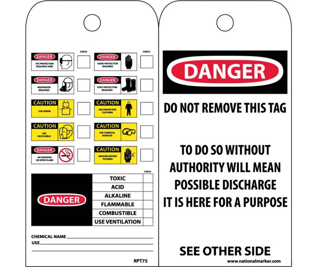PPE And Chemical Danger Caution Check List Required Tag