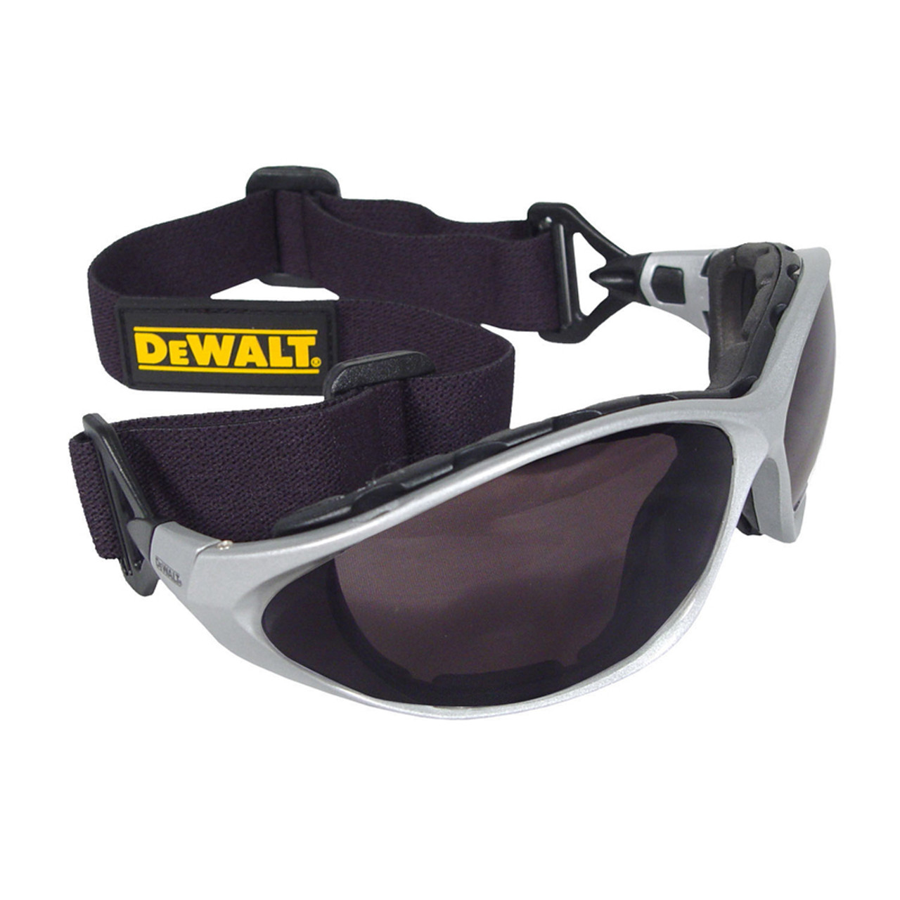 0b0140571a42 DeWalt grey full frame safety glasses with black lenses, full foam padding  and black convertible