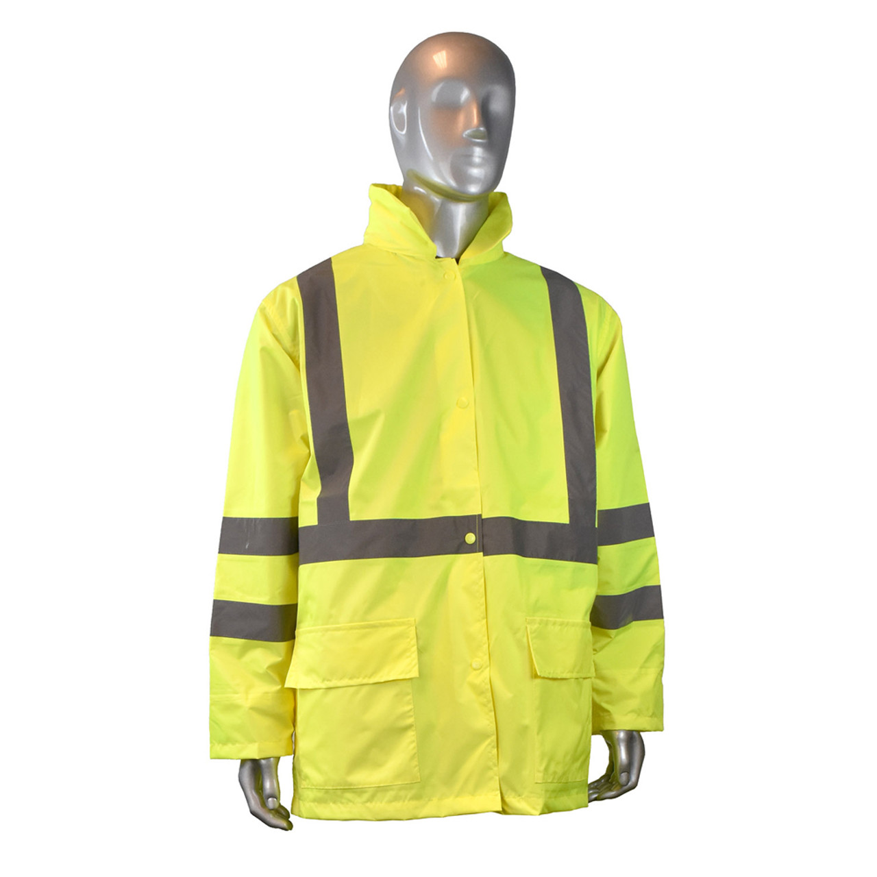 6ea6e8739 Radians ANSI Class 3 Rain Jacket And Pants - High visibility yellow rain  jacket with front