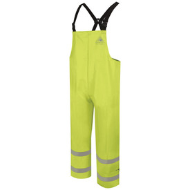 Bulwark FR Hi Viz CAT 2 Class E Rain Bib Overall - Front view of yellow Bulwark bib overalls. There are no pockets. Top left corner near the shoulder has the Bulwark Logo. It has two reflective stripes around the ankles.