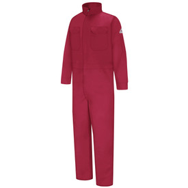 Bulwark FR CAT 2 Premium Coverall - Front view of red Bulwark coveralls with two pockets on the chest and a Bulwark logo on the left arm also has a high neck