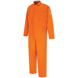 Bulwark FR 9 oz CAT 2 Coverall - Front view of orange Bulwark coveralls with one pocket on the chest and 2 on the sides also has a bulwark logo on the left arm
