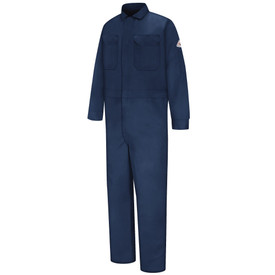 Bulwark FR  9oz  CAT 2 Deluxe Coverall - Front view of Navy blue Bulwark coveralls 2 pockets at the chest and a Bulwark logo on the left arm