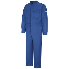 Bulwark FR 7 oz CAT 2 Coverall - Front view of royal blue Bulwark coveralls with two pockets on the chest and one pocket on the left arm with a Bulwark logo above it.