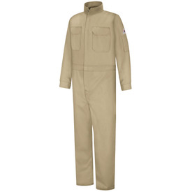 Bulwark Women's FR 7oz CAT 2 Coverall - Beige Bulwark Women's Coverall with 2 front chest pockets with flaps, zipper front, pocket on left sleeve and Bulwark logo above pocket on left sleeve.