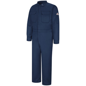 Bulwark FR  9 oz  CAT 2 Zipper  Front Coveralls - Front view of dark Navy Bulwark coveralls with two pockets on the chest and one pocket on the left arm with a Bulwark logo above it.