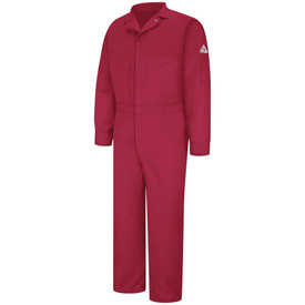 Bulwark FR NFPA CAT 2 Zipper Front Coveralls - Front view of red Bulwark coveralls 5 pockets 2 on chest and 2 on the waist also has a Bulwark logo on the left arm and a pocket