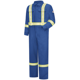 Bulwark Hi Viz CAT 2 Zipper Front 7 oz Coverall - Front view of royal blue Bulwark coveralls with 2 pockets on the chest and 1 pocket on the left arm. There are 2 reflective strips going down the chest, 1 going around the waist, 2 on the wrist, and two on the ankles. Also there is a Bulwark logo on the left arm.