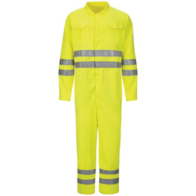 Bulwark Hi Viz FR 8 Pocket CAT 2 Coveralls - Front view of yellow Bulwark coveralls with two pockets on the chest. There is two reflective strips on the waist, two on both arms, and two on both ankles.