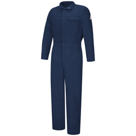 Bulwark Women's FR 4.5 oz CAT 1 Zipper Front Coveralls - Front view of Navy Bulwark coveralls with two pockets on the chest and a Bulwark logo on the left arm.