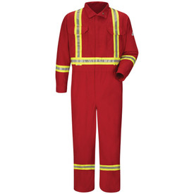 Bulwark Hi Viz FR CAT 1 Red Coveralls - Front view of red Bulwark coveralls with 2 pockets on the chest with 3 reflective stripes 1 on the ankle 1 on the wrist and 1 going down from the shoulders down to the waist and a Bulwark logo on the left arm