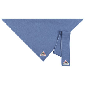 Bulwark FR CAT 1 Bandana and Head Tie - Front view of a blue colored Bulwark bandana with a Bulwark logo on the bottom.