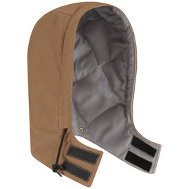 Bulwark FR CAT 4 Duck Snap On Hood - Front view brown Bulwark hood with a string going around the edge and Velcro on the bottom by the neck