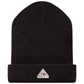 Bulwark CAT 3 FR Black Modacrylic Knit Cap - Front view of black Bulwark winter hat with a Bulwark logo on the rim