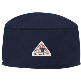 Bulwark FR 12 oz CAT 2 Fleece Beanie - Front view of blue Bulwark bowl shaped hat with a Bulwark logo in the middle.