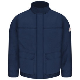 Bulwark 7 oz  Lined FR CAT 3 Bomber Jacket - Front view of Navy Bulwark jacket with two pockets on the waist. It has a high neck and a Bulwark logo on the left arm.