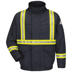 Bulwark Hi Viz 7 oz FR Lined CAT 3 Bomber Jacket - Front view of Navy Bulwark jacket with two pockets on the waist. There is two reflective strips going down the shoulders and one going across the center of the jack. It also has one reflective strip on both wrist and a Bulwark logo on the left arm.