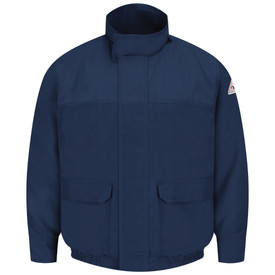 Bulwark CAT 2 FR Zipper Front Lined Bomber Jacket - Front view of Navy Bulwark jacket with two pockets on the waist and a Bulwark logo on the left arm.