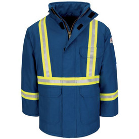 Bulwark Lined Hi Viz CAT 4 FR Deluxe Winter Parka - Front view of Bulwark Royal Blue Hi Viz Winter FR Coat with silver on yellow reflective striping around both cuffs, around waist and going up both sides of the chest to the shoulders. Coat has 2 lower flap pockets, 1 upper left chest flap pocket, zipper front with Velcro storm flap over zipper and stand up collar.