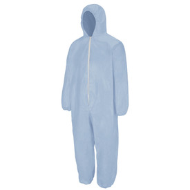 Bulwark FR PVC Coated Disposable Chemical Splash Coverall - Front view of blue Bulwark Disposable Coverall with a hood. It has a white zipper going down the front.