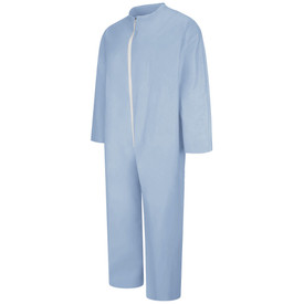 Bulwark FR Zipper Front Disposable Coverall - Front view of blue Bulwark Disposable Coverall with a white zipper going down the front.