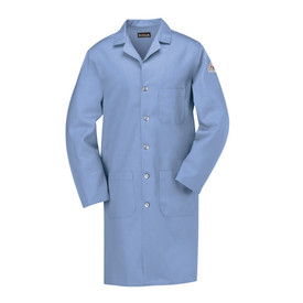 Bulwark FR Button Front CAT 1 Lab Coat - Front view of light blue Bulwark lab coat with five buttons going down the front. It has one pocket on the left side of the chest and two pockets on the waist. There is also a Bulwark logo on the left arm.