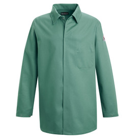 Bulwark FR CAT 2 Cotton Work Coat - Front view of green Bulwark lab coat with a pocket on the left side of the chest. There is a Bulwark logo on the left arm.