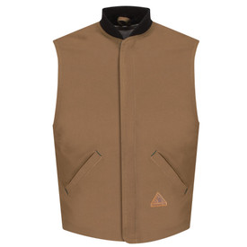 Bulwark FR Duck Cotton Lined CAT 4 Vest Jacket Liner - Front view of tan Bulwark vest with two pockets and a black collar. There is a Bulwark logo on the left pocket.
