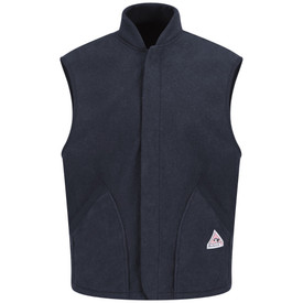 Bulwark 8 oz Fleece CAT 2 FR Vest Jacket Liner - Front view of Navy Bulwark vest liner with two pockets on the waist with a  Bulwark logo on the left pocket.