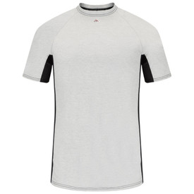 Bulwark Short Sleeve FR Tagless CAT 1 Base Layer T-shirt - Front view of Grey and black Bulwark short sleeve shirt with a Bulwark logo just below the neck.