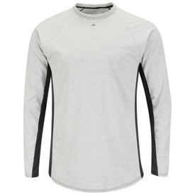 Bulwark FR CAT 1 Long Sleeve Tagless Base Layer T-shirt - Front view of Grey and black Bulwark long sleeve shirt with a Bulwark logo just below the neck.