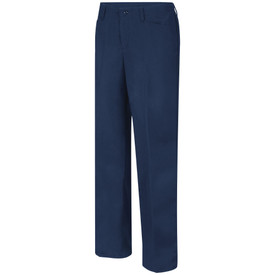 Bulwark Women's 9 oz Cotton FR CAT 2 Work Pant - Front view of Navy Bulwark work pants with two pockets. There is also a button and belt loops on the waist.