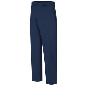 Bulwark Flame Resistant 7 oz CAT 2 Work Pants - Front view of Navy Bulwark work pants with two pockets and a button and belt loops on the waist.