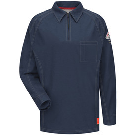 Bulwark 5.3 oz Long Sleeve FR CAT 2 Polo - Front view of dark blue Bulwark long sleeve work shirt with a zipper on the neck with a pocket on the left chest. There is also a Bulwark logo on the left arm.