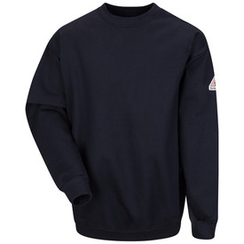 Bulwark CAT 2 Long Sleeve FR Pullover Sweatshirt - Front view of  Navy Bulwark long sleeve work sweatshirt with a Bulwark logo on the left arm.