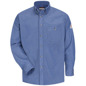 Bulwark CAT 2 FR Cotton Denim Dress Shirt - Front view of light blue Bulwark long sleeve work shirt with six buttons going down the front and a pocket on the left side of the chest. There is also a Bulwark logo on the left arm.